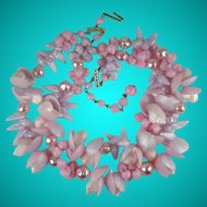 Vintage 1950s Germany Pink and Lilac Plastic Shells Beads Necklace