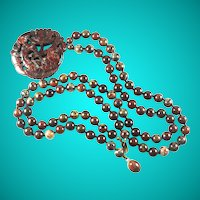 Vintage Jasper Bead Necklace with Carved Fish Pendant 33 Inches