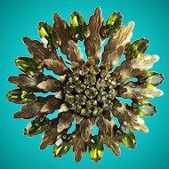 Vintage Peridot Rhinestone Metal Flower Large Statement Brooch