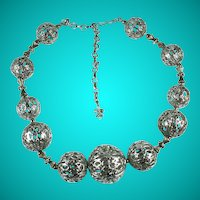 Vintage Coro Vendome Filigree Balls Necklace