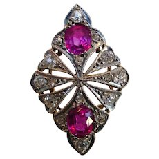 Antique Unheated Pink Ruby Sapphire 900 Platinum 18k Ring Certified