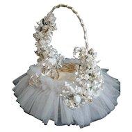 Beautiful Vintage 1950's Tulle Cloth Flowers Wedding Girl's Flower Basket