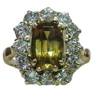 Elegant Vintage Art Deco Hyacinth Zircon & Diamond 14k Yellow Gold Ring