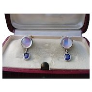 Vintage Moonstone & Blue Sapphire Earrings 14k Gold & 900 Platinum Screwbacks