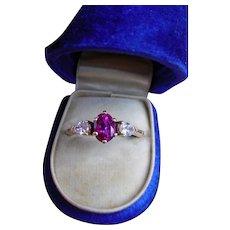 Vintage AGL No Heat Reddish Pink Sapphire Diamond Ring Unheated