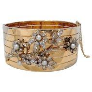 Elegant French 18k Yellow Gold Vintage Diamond and Pearl Bracelet