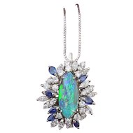 Fantastic Large Boulder Opal Pendant with Diamonds and Blue Sapphires