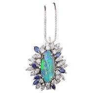 Fantastic Large Boulder Opal Pendant with Diamonds and Blue Sapphires