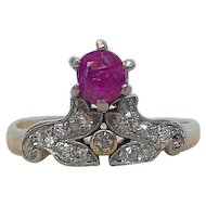 Antique 18K Gold Ruby Diamond Victorian Tiara Ring