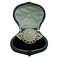 Antique 1850 Tiffany Victorian Seed Pearl Brooch Original Fitted Box
