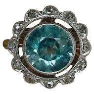 Antique Edwardian 900 Platinum 14k Gold Blue Zircon Diamond Ring