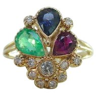 Vintage Ruby Emerald Blue Sapphire Diamond Ring in 19k Yellow Gold