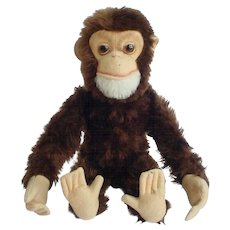"""Vintage 13"""" Schuco Yes / No Monkey Straw Stuffed Mohair Squeaker"""