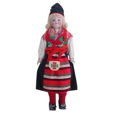 Old Bisque Sweden Ethnic Dressed Doll - Kimport Doll - Pristine Condition