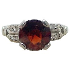 Vintage Art Deco Garnet Diamond Ring 18K White Gold