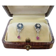 Vintage Blue Sapphire Ruby Diamond Earrings