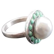 Antique Victorian Cultured Pearl Turquoise Ring