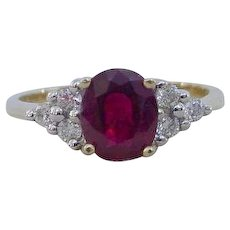 Vintage Natural Blood Red Ruby Diamond Ring 18k Yellow Gold
