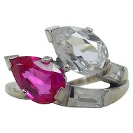 Vintage Baden & Foss 14k White Gold Created Ruby Sapphire Ring 1940's Art Deco