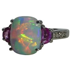Beautiful Vintage Opal and Pink Sapphire Ring