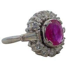 Vintage Art Deco Unheated Ruby Diamond Ring  900 Platinum EGL Certified