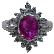 Vintage 900 Platinum No Heat Burmese Ruby and Diamond Ring