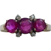 Fine Old Three Stone Ruby Ring No Heat EGL Certified