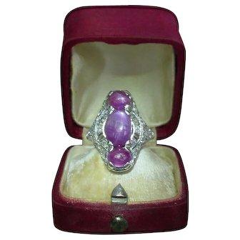 Stunning 900 Platinum Art Deco Star Ruby Diamond Ring