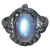 Vintage Art Deco Moonstone Diamond Ring 18k White Gold