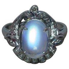 Vintage Art Deco Moonstone Diamond Ring 18k White Gold