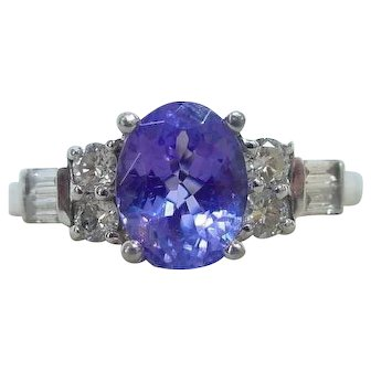 Vintage 950 Platinum Tanzanite and Diamond Ring