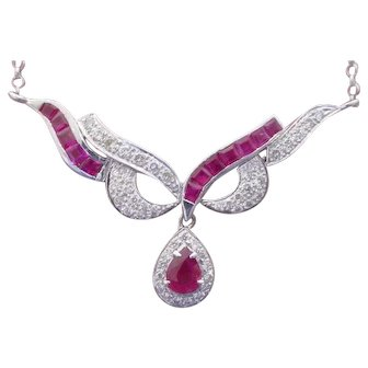 Gorgeous Ruby and Diamond Necklace in 18K White Gold