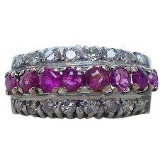 Fine Quality Ruby Diamond Band Ring 14k Gold Deco Retro