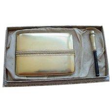 Vintage La Mode Cigarette Case and Matching Holder In Original Box