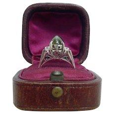 Sugarloaf Cabochon Chrysoberyl Cat's Eye 850 Platinum Ring Art Deco Period