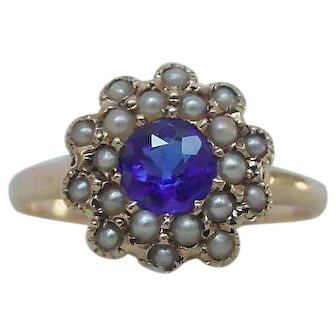 No Heat Kashmir Blue Sapphire and Seed Pearl Ring Victorian Antique