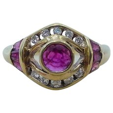 Vintage Ruby Diamond Ring in 18k Yellow Gold
