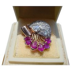 Incredible Retro Moderne Jellyfish Diamond Carved Ruby Tutti Frutti Ring