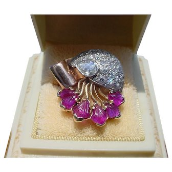 Incredible Retro Moderne Jellyfish Diamond Carved Ruby Tutti Frutti Ring