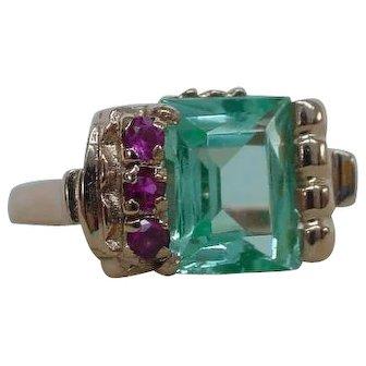 Lovely Retro Moderne Green Stone Ruby Ring in 14k Rose Gold