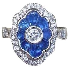 Art Deco Style Blue Sapphire and Diamond Sister Ring