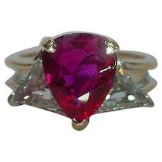 Vintage Oscar Heyman Ruby Diamond Ring 18k Gold Platinum Certified