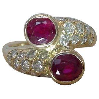 Vintage French Ruby 18k Gold Toi et Moi Ring