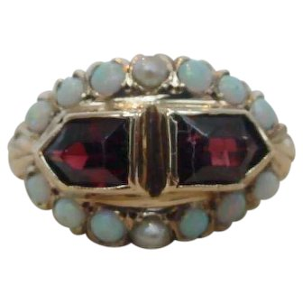 Art Deco Garnet Opal Ring in 14k Yellow Gold
