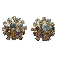 Vintage Multi Gemstone Sputnik Earrrings in 14k Yellow Gold