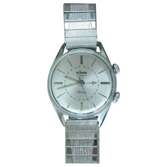 Vintage Le Jour 17 Jewels Alarm Stainless Men's Wristwatch