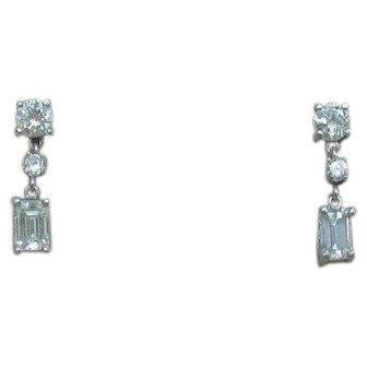 Lovely Vintage Diamond Platinum Dangle Drop Earrings