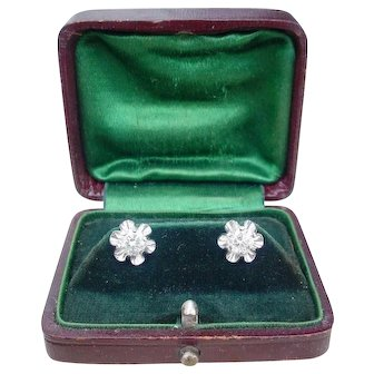 Gorgeous Vintage 1.2 tcw Diamond Stud Pierced Earrings