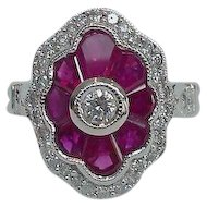 Art Deco Style Red Ruby and Diamond Sister Ring