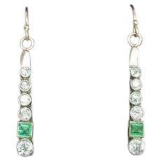 Antique 15k Gold Platinum Diamond Emerald Dangle Earrings